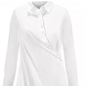 White Long Sleeve Wrap Button Down Blouse